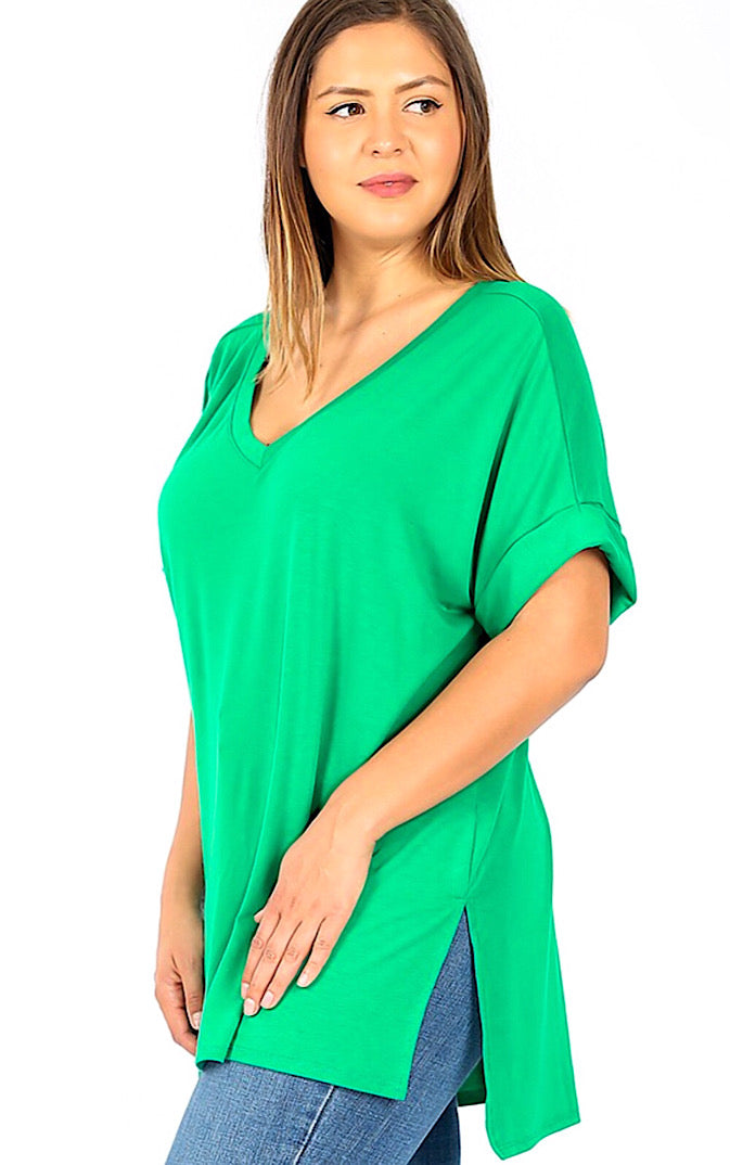 Forever Favorite Green Knit Tee, S-3X! *DEAL OF THE DAY*