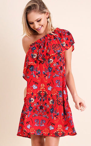 Garden Party Red Floral Dress, SMALL & MED