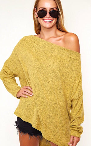 Cuddle Weather Mustard Sweater