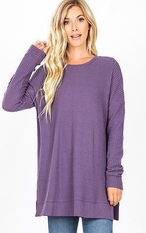 Warm Welcome Lilac Waffle Tunic, S-3X! *DOORBUSTER*