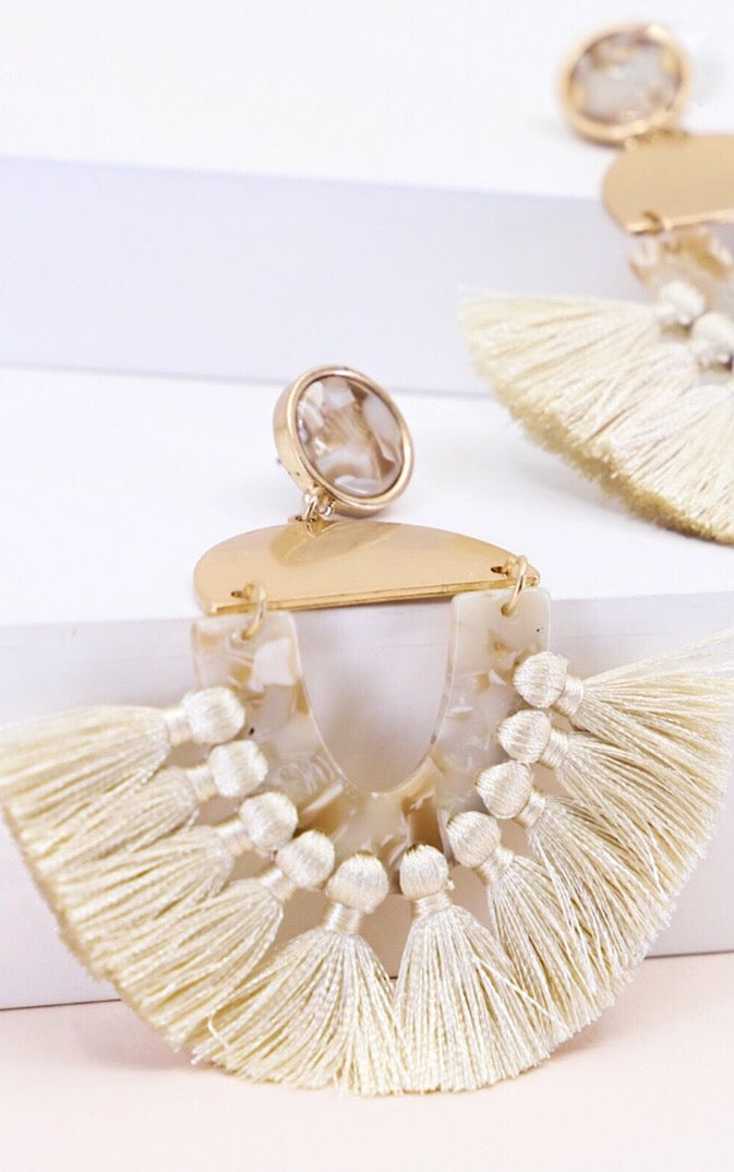 Number One Fan Ivory Fringe Earrings