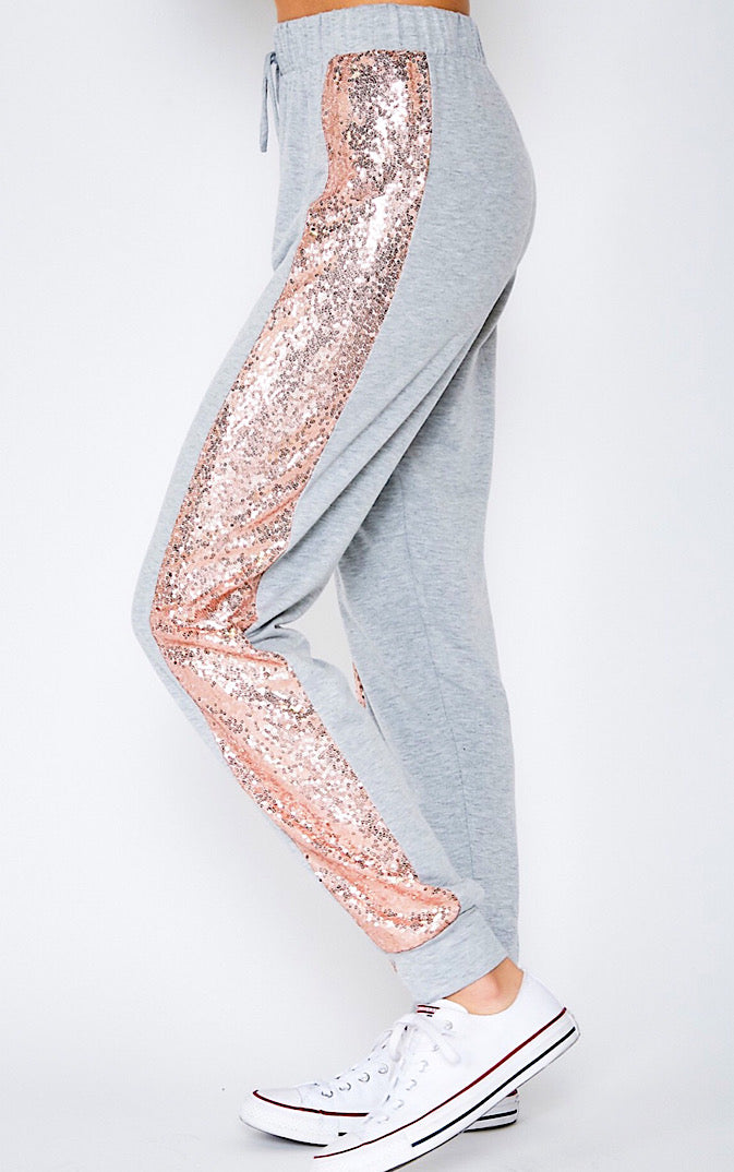 Patio Nights Pink Sequin Trim Joggers