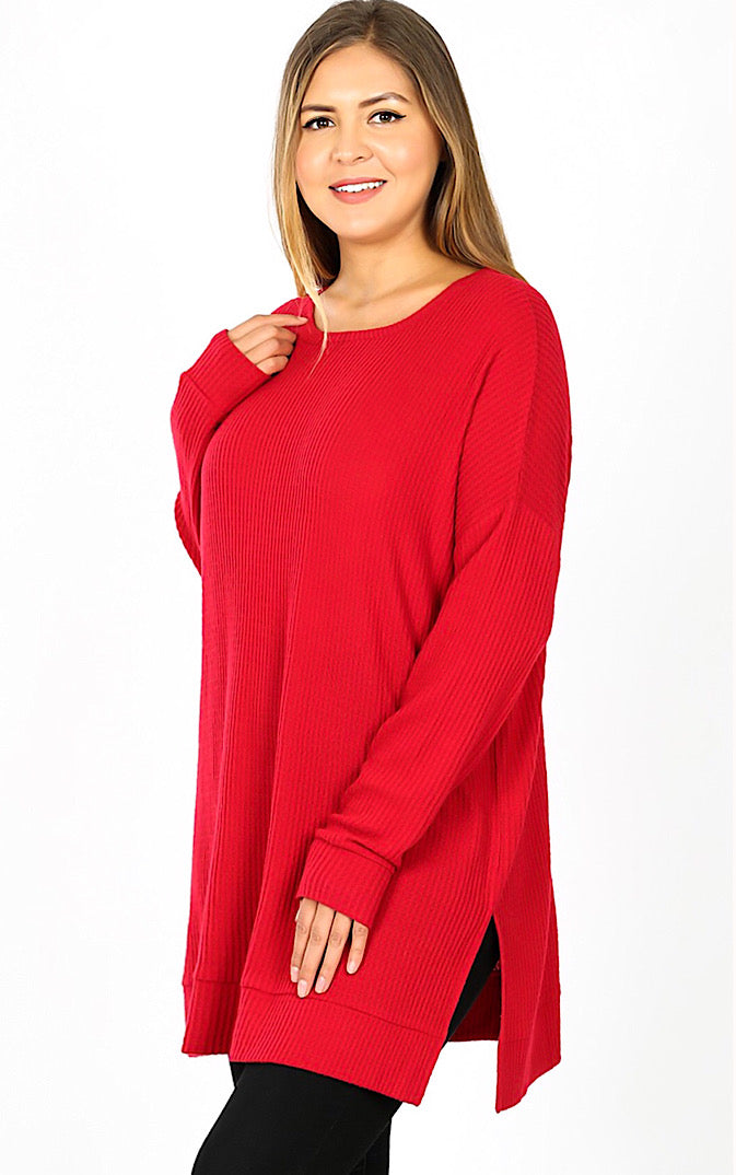 Warm Welcome Red Waffle Tunic, S-3X! *DOORBUSTER*
