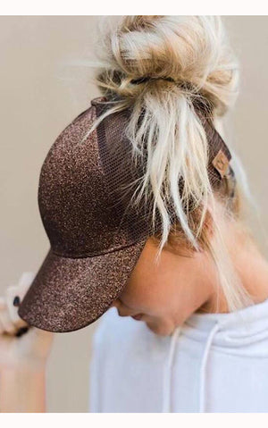 Bronze Ponytail Cap by CC Beanie