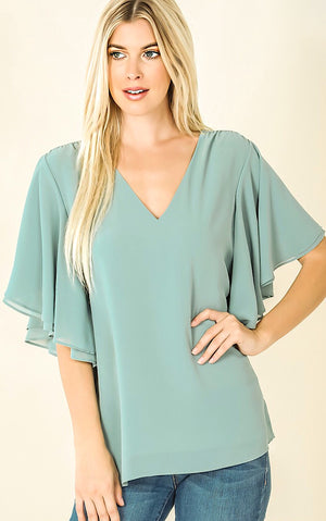 Brand New Day Sage Top, S-3X! *SATURDAY STEAL*