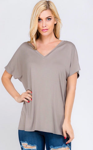 Perfect Taupe V-Neck Tee, S-3X!
