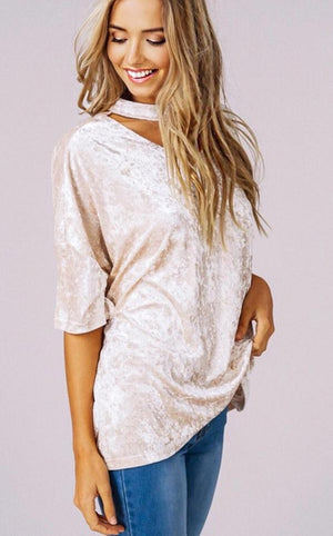 Total Knockout Blush Velvet Top