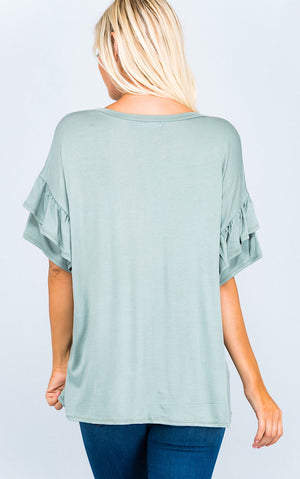 Camille Sage Ruffle Sleeve Top
