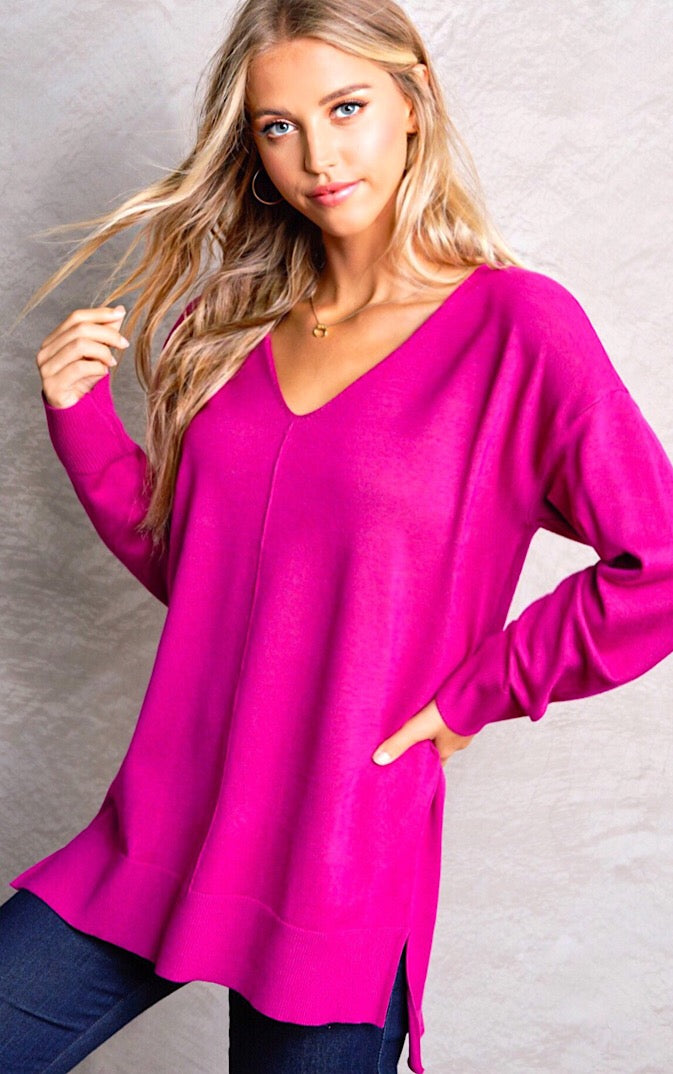 Pretty Please Hot Pink Sweater, 2X/3X in stock!