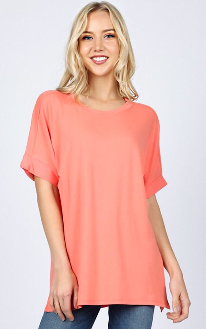Forever Favorite Coral Knit Tee, S-3X! *DEAL OF THE DAY*