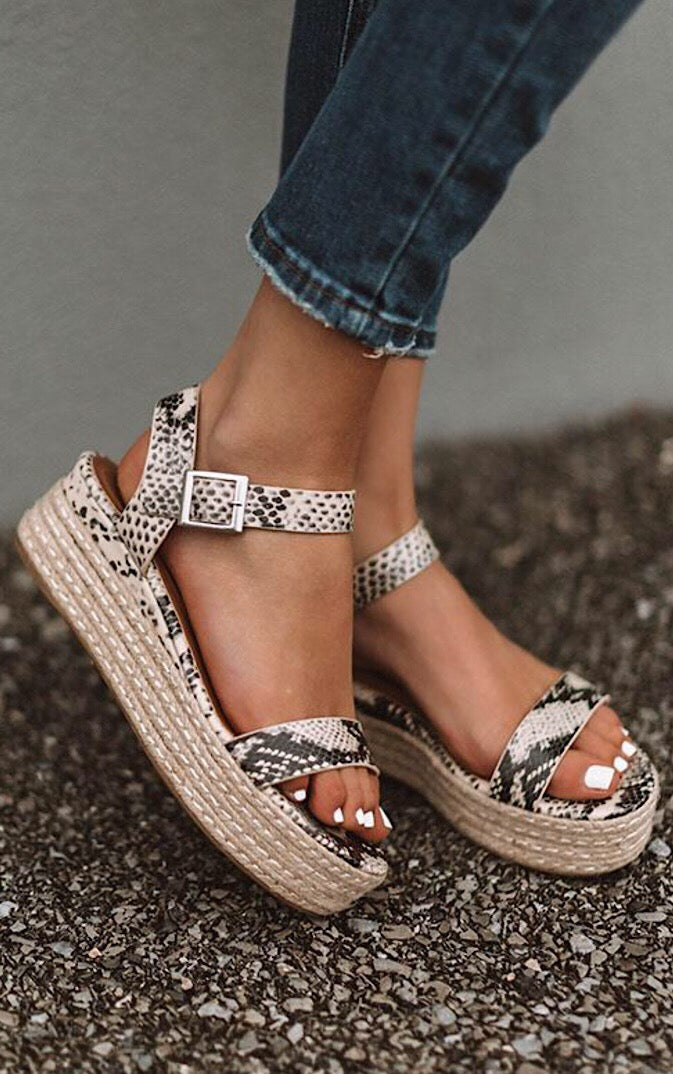 Walking On Sunshine Snake Print Sandals
