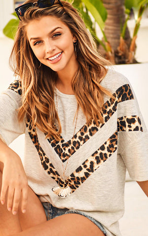A Little Hint Of Leopard Chevron Top