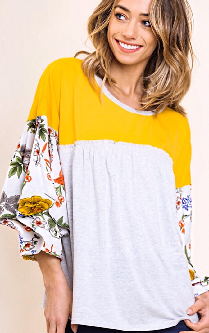 Yellow Brick Road Floral Sleeve Top, S-2X!