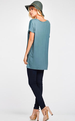 Perfect Teal V-Neck Tee, S-3X!