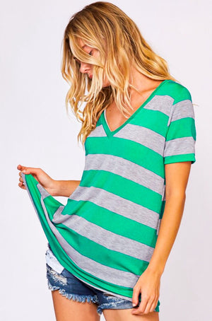 Fun Fall Green Striped Tee