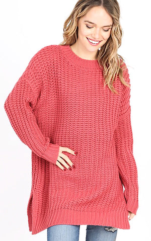 Just Chill Chunky Rose Knit Sweater *DOORBUSTER*