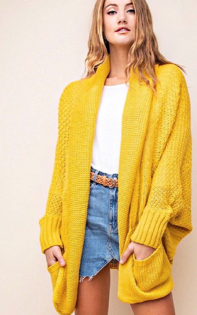 My Happy Place Mustard Cardigan, S-3X!