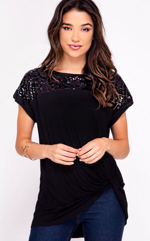 Forget Me Not Black Top, SMALL & MED