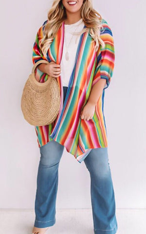 Need Some Happy Rainbow Striped Kimono, XL-3X!!