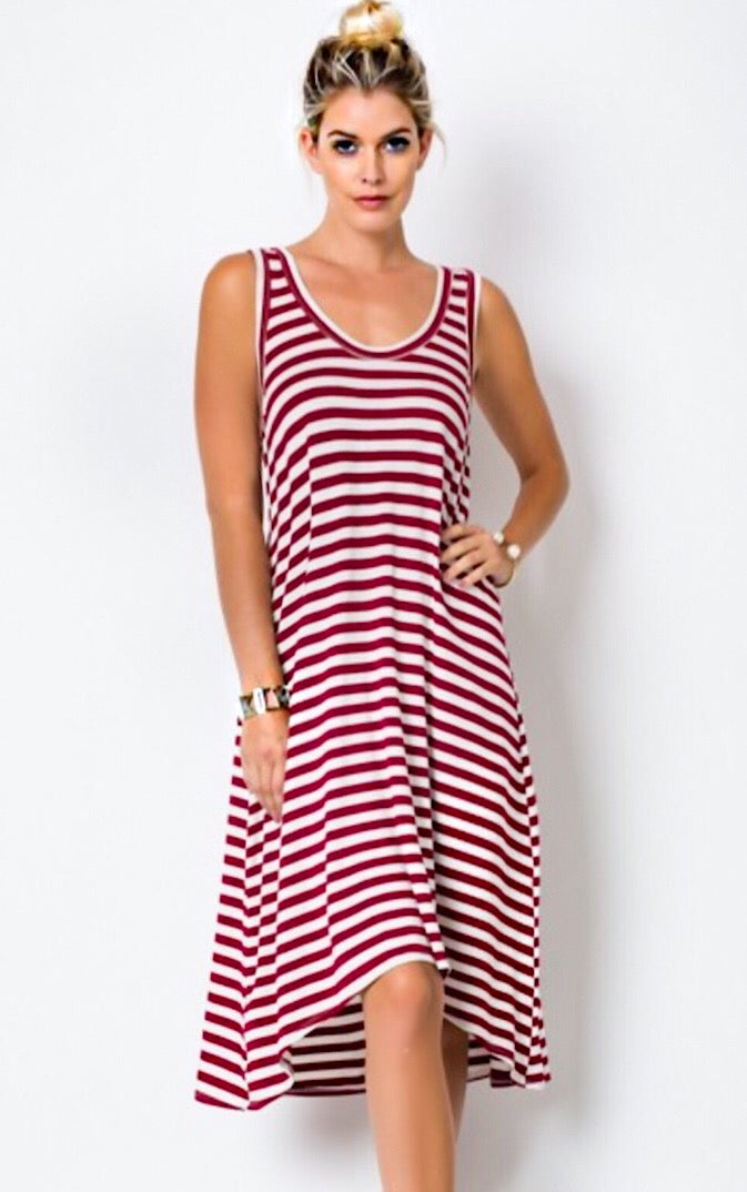 Sabrina Striped Midi Dress, MED & LRG