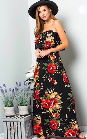 Charmed I'm Sure Black Floral Maxi Dress