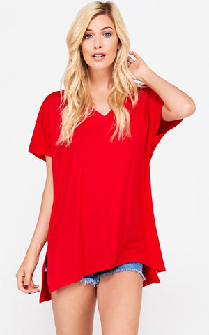 Perfect Red V-Neck Tee, S-3X!