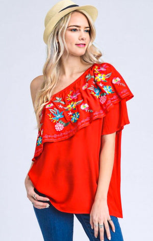 Palm Springs Embroidered Top, SMALL