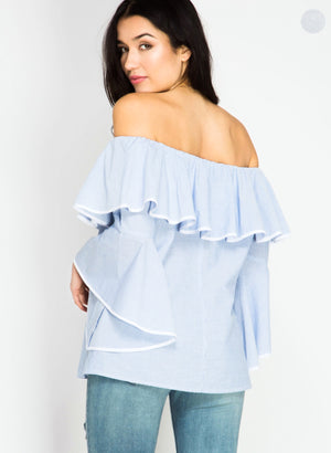 z Bianca Blue Off Shoulder Ruffle Top, LARGE left!