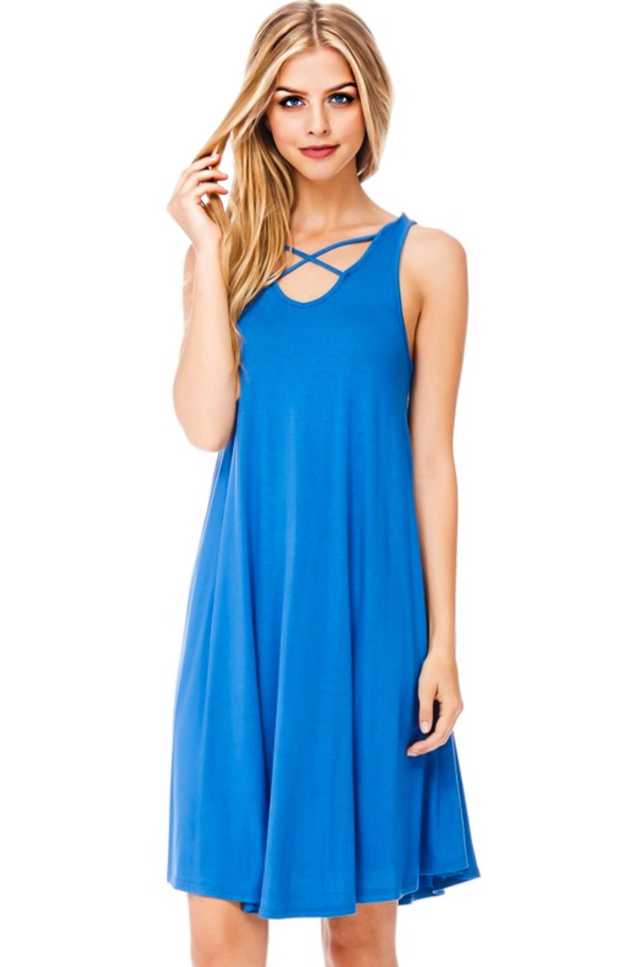 Caroline Blue Criss Cross Dress, SMALL 4/6