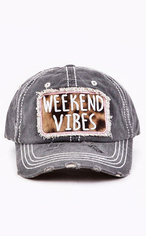 Weekend Vibes Grey Distressed Hat