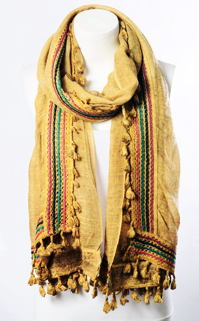 Honey Embroidered Boho Scarf