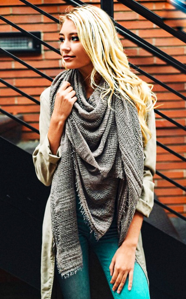 Keepin' Cozy Grey Blanket Scarf