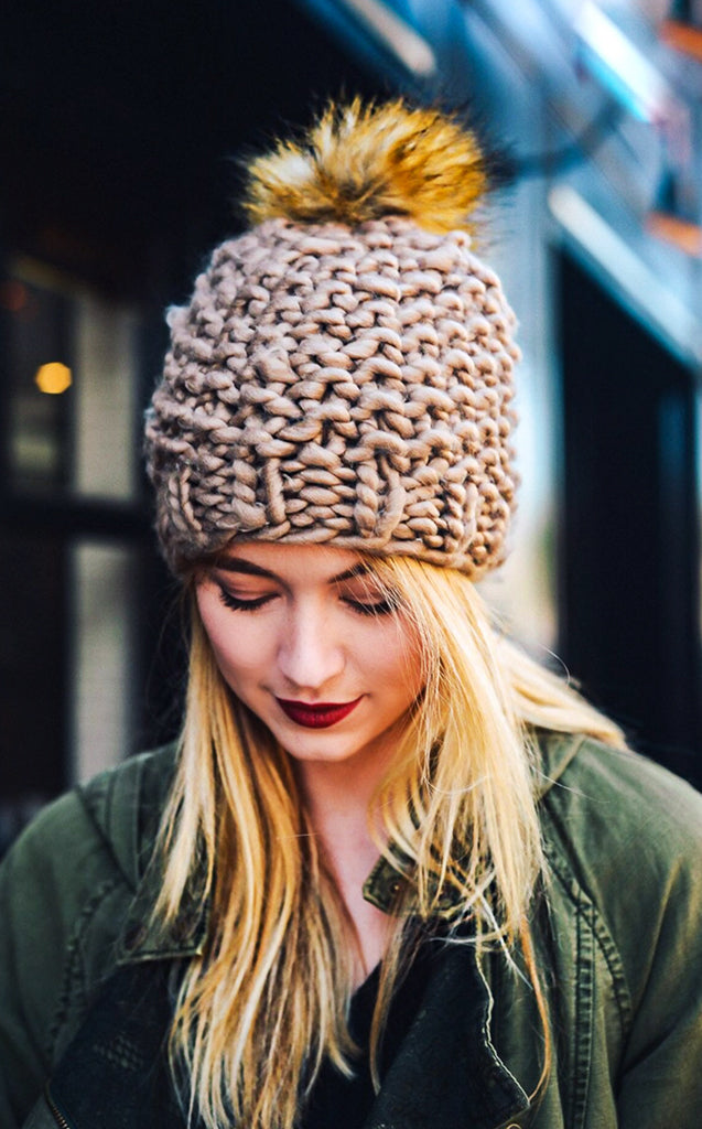 ede7db0c983 Taupe Chunky Knit Beanie - The Coral Cactus Boutique