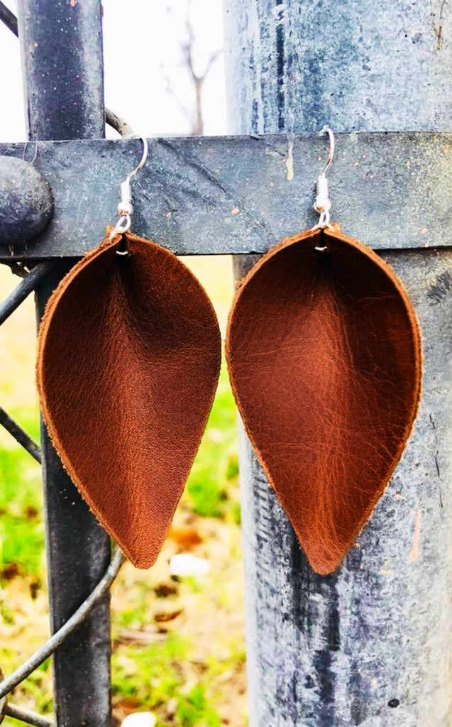 The Joanna Brown Leather Earrings