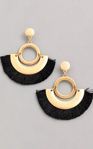 z Fringe Benefits Black Earrings