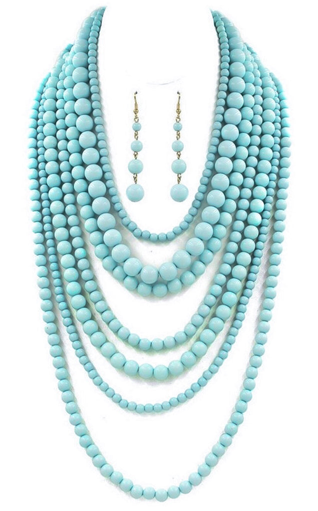 Seven Strand Beaded Necklace - Light Blue/Turquoise