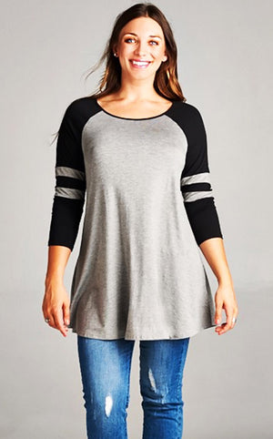 Down, Set, Hut Tunic Grey Tunic, 3X