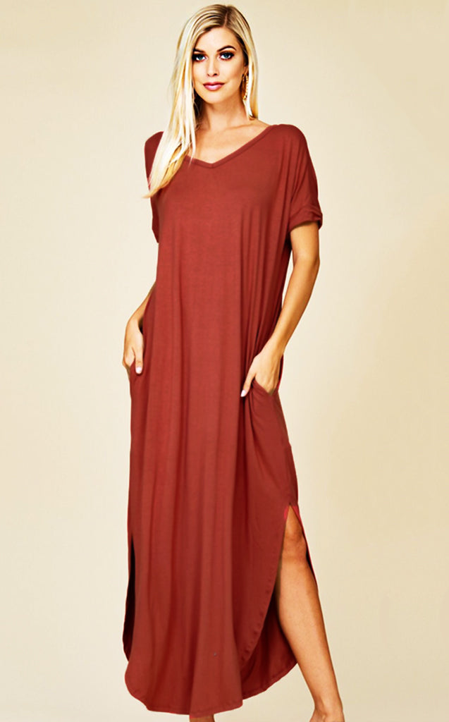 Maddie T-shirt Maxi Dress Cinnamon, RESTOCKED!