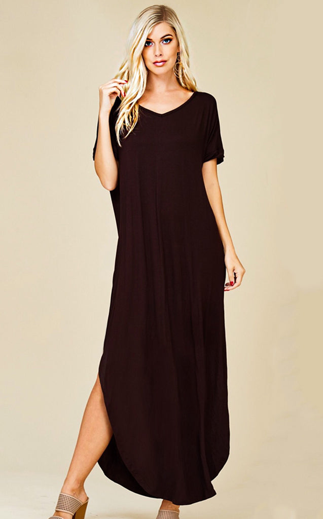 75b517544 Maddie T-shirt Maxi Dress Black, RESTOCKED! - The Coral Cactus Boutique