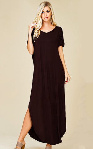 Maddie T-shirt Maxi Dress Black