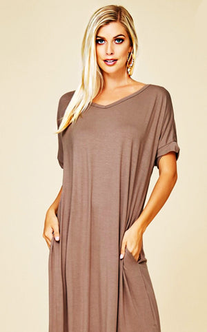 Maddie T-shirt Maxi Dress Taupe, RESTOCKING SOON!