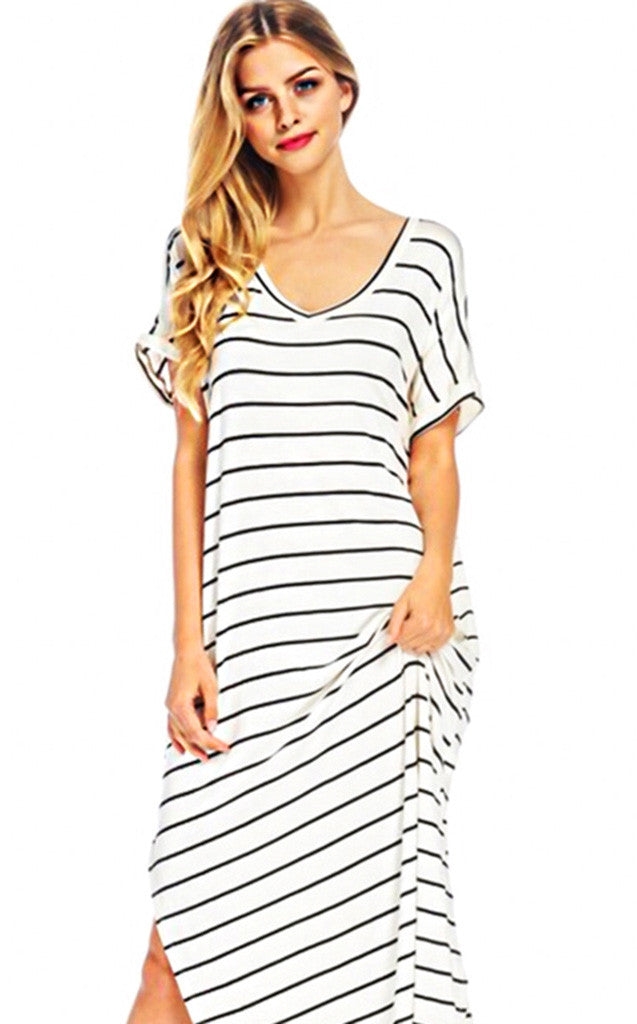 91075737773c z Maddie Ivory   Black Stripe Maxi Dress - The Coral Cactus Boutique