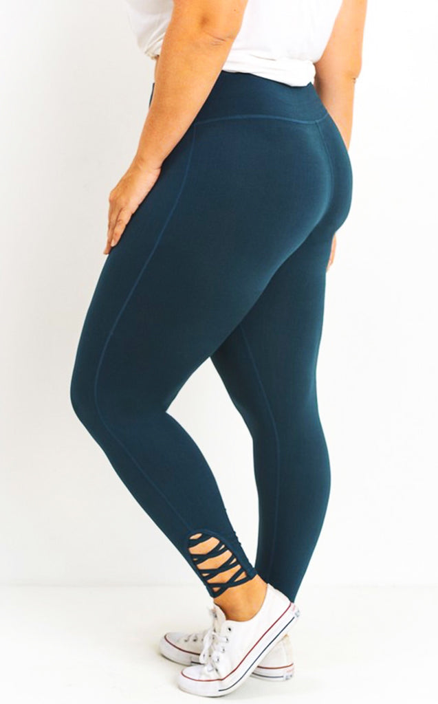 z Let's Get Moving Teal Blue Leggings, CURVY