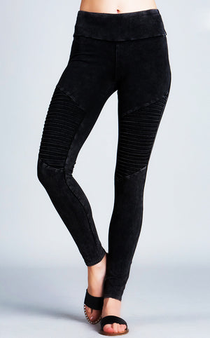 Black Mineral Washed Moto Leggings