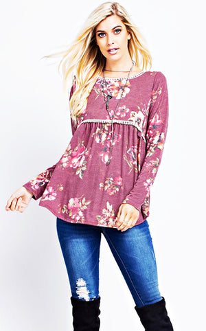 Perfect Love Berry Pink Floral Top