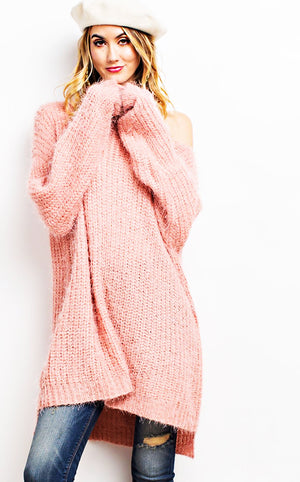 Winter Luxury Blush Fuzzy Sweater, S/M