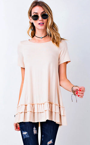 Sittin' Pretty Buttercream Ruffle Tunic, MED