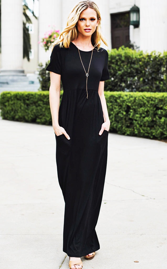 Bella Black Maxi Dress, RESTOCKED, S-XL!