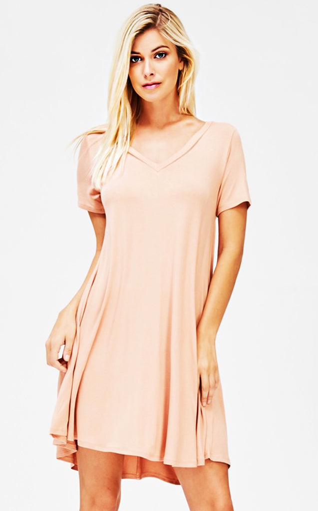 Win Your Heart Blush V-Neck Dress