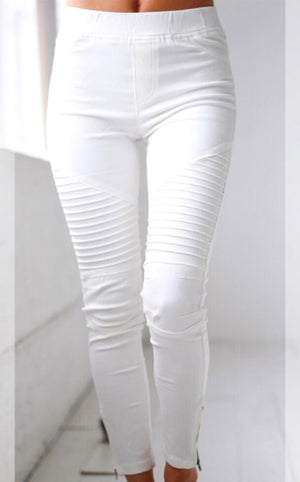 Need You Now White Moto Jeggings, S-2X!